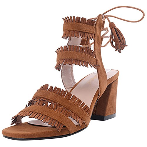Oasap Women's Open Toe Chunky Heels Fringe Gladiator Sandals Brown
