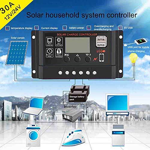 30A Solar Panel Controller Batterieladeregler 12V / 24V Auto Mit Dual USB 30a Panel