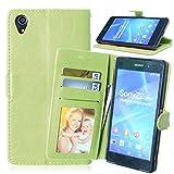 Sony Z2 Hülle, FUBAODA Flip PU Leder Brieftasche Hülle + Kostenlos Syncwire Ladekabel, mit ID / Bargeld / Karten Aussparrung und Ständerfunktion für Sony Xperia Z2 (D6502 D6503 L50W) (grün)