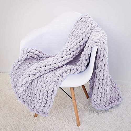 Gestrickte Decke Serria® Nordic Grobe Strickdecke Gestrickte Merino Decke große klobige Arm Stricken Garn werfen Decke handgewebte Chunky Knitted Decke für Neugeborene Baby (Grau, XL 80×100CM) -