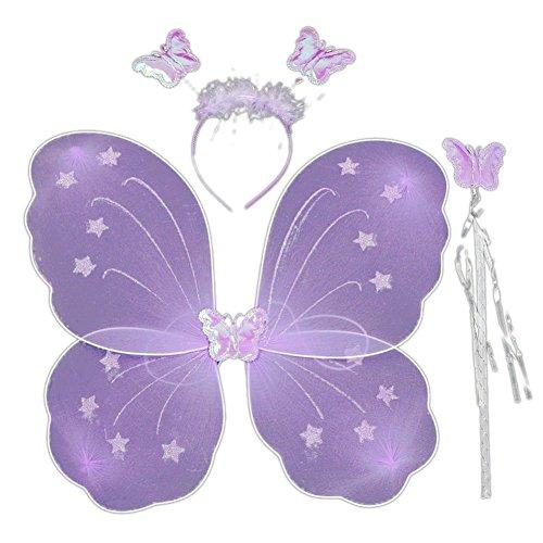 EFINNY Mädchen Feeprinzessin Schmetterlingsflügel Stab Stirnband 3 PC Spiel Kostüm Halloween-Partei Rolle 4038cm Gesetzt Eine Größe Lila (Lila Dress Up Set)