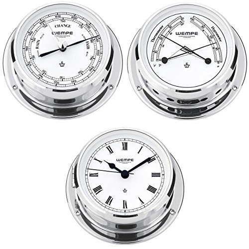 Wempe Serie Skiff Chrom Ø 110mm - Yachtuhr mit römischen Ziffern, Barometer und Comfortmeter