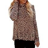 HULKY Vendita di Liquidazione Donna Leopardo Stampa Camicia Aggiornamento Manica Lunga Stand Collo Irregolare Orlo Sciolto Camicetta Top(Marrone,XX-Large)