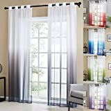 Topfinel Tende Voile Trasparente Occhielli con Gradiente di Colore Decorativi Finestra Balcone casa 140x260cm 2 Pezzi-Grigio
