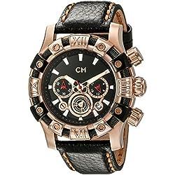 Carlo Monti Arezzo Men's Quartz Watch with Black Dial Chronograph Display and Black Leather Strap CM122-322