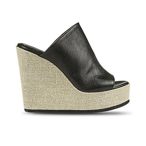 Fabbrica Dei Colli Femmes Sandale Noir 100% Cuir Compensé cm 13 Mod 1VERA124