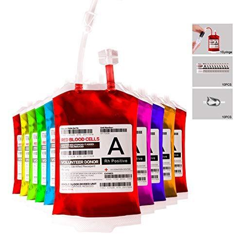 Meowtastic Blutbeutel für Getränke, wiederverwendbare Getränkebeutel, IV, 10 Stück, robust, wiederverschließbar, tragbar, für Halloween, Kostüm-Requisiten, Krankenschwestern