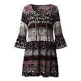 Kleid Damen,Binggong Frauen Blumendruck drei Viertel Lose Ärmel Boho Kleid Damen Elegant Abend Party Mode Beiläufiges Shirt Mini Schmetterlingshülse Kleid (Sexy Schwarz, M)