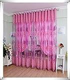 Y56 100x200 cm Blatt Hohlfenster-Bildschirme Tür-Balkon-Vorhang Blendenabdeckung Tür Vorhang Fenster Raum Vorhang Valance Sheer Voile Tür Fenstervorhang (Pink)