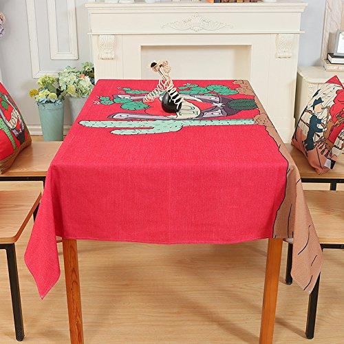 SSLW Tischdecke, Baumwolle mit dicker Stoff Leinen mit Tisch, rose, 140*180cm