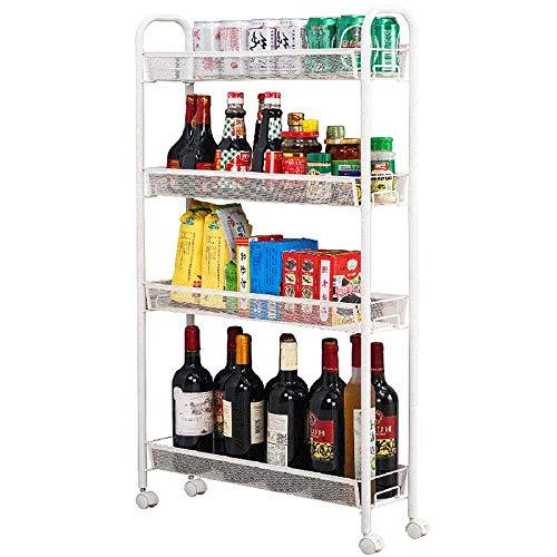 4-Tier Movable Slat Rack Schmale Kühlschrank Clearance Gap Lagerregal Mit Rädern Geeignet Für Küche Badezimmer Wohnzimmer - 4-tier-rack-einheiten