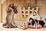 PREMIUM TEXTIL Krippenfiguren ca. 13-14 cm, 21.-tlg. ORIENTAL Textil - Figuren für Krippe, MFTO-G-MDS mit Echtholz-Deko-Set Ankleidekrippe - Alpenland-Figuren, sehr hochwertige Textilfiguren,Ankleidefiguren komplett, Figuren für Holz Weihnachtskrippen bis 100 cm, Design & Ausführung: Krippenspiel Weihnachtsgeschichte Maria Josef Weise aus Morgenland, alpenländische Figuren, Alpenland-Weihnachtskrippenfiguren, Weinachtskrippe