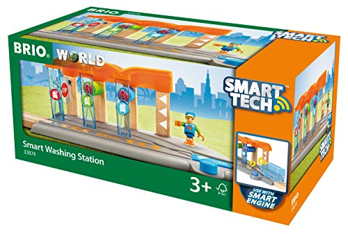 duplo waschanlage BRIO World 33874 Smart Tech Waschanlage für Züge – Waschstraße mit rollenden Walzen & Sound-Effekten – Interaktives Spielzeug empfohlen ab 3 Jahren