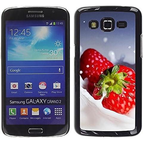 TORNADOCOVER Unico Immagine Rigida Custodia Case Cover Protezione Per SMARTPHONE Samsung Galaxy Grand 2 SM-G7102 SM-G7105 - macro frutta cremoso fragole - Cremoso Fragola