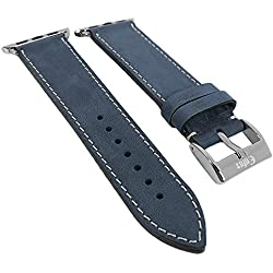 Minott watch strap Compatible With Apple Watch 42 mm - Leather? 29972, Colours: Blue