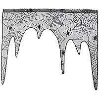 Vvciic Suministros decoración araña patrón de Tela Capa de la Chimenea de la Bufanda de la Cubierta Parte Festiva Cortinas Persianas para Halloween