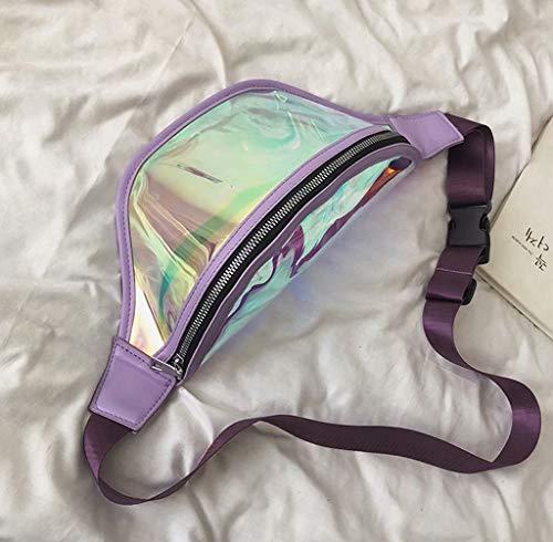 Erweiterbarer Bund (ZJ-SUMBRELLA Hüfttasche Laser transparent Gelee Schulter Diagonale kleine quadratische Tasche Handtasche, geeignete Mädchen zum Einkaufen tragen einige einfache Kosmetik-Schlüssel, Handys usw.)