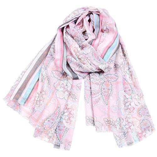 Floral Bedruckte Schal (Deloito Baumwoll Tuch Schal Lange Leichtgewicht Halstuch Damen Mode Floral Bedruckt Schals für jede Jahreszeit Halstücher Turban (Rosa))