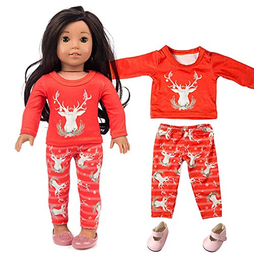 YUYOUG Puppenkleider, 3Packs Chirstmas Printed Clothes + Pant + Shoes Sets für 18 Zoll Unsere Generation American Girl Doll Zubehör (Spiel-sets Für American Girl-puppen)