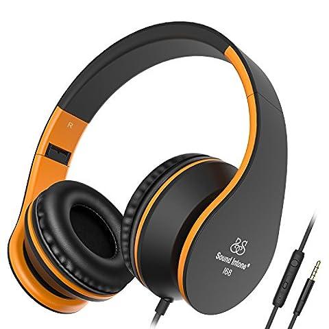 Sound Intone I68Casque d'écoute supra-auriculaire pliable, touche de réglage du volume, microphone et fiche Jack de 3,5mm pour PC/smartphone/iPad/iPod Noir/orange