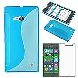 ebestStar - Cover Nokia Lumia 735 730 Dual Custodia Protezione S-Line Design Silicone Gel TPU Morbida e Sottile, Blu + Pellicola Vetro Temperato [Apparecchio: 134.7 x 68.5 x 8.9mm, 4.7'']