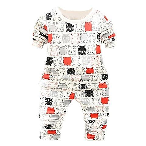 Famille Bébé Vêtements, Cartoon Enfant T-shirt Tops + Pantalons Ensemble de Vêtements (0-12 Mois, Rouge)
