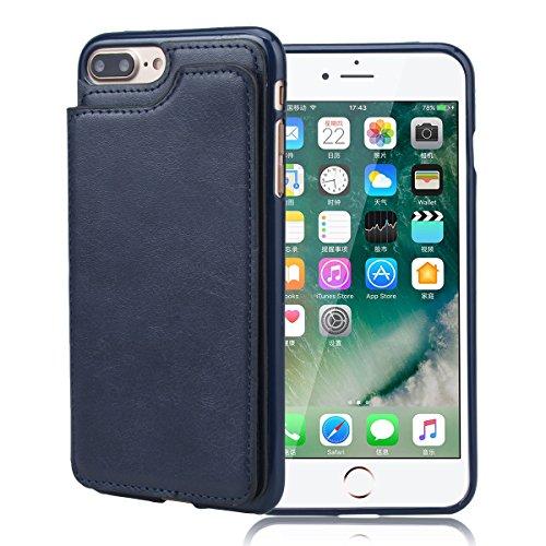 Cover per iPhone 7, VemMore Custodia Supporto Slot della Carta di Credito Case in Pelle Morbido PU & Durevole PC Portafoglio Caso di Inserto Card Nascosto Ultra Sottile Snap Professionale sul Copertur Blu