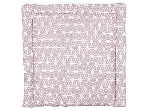 KraftKids Wickelauflage in weiße Diamante auf Cameo Rosa, Wickelunterlage 60x70 cm (BxT), Wickelkissen -