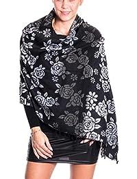 Damen Schal wolle flauschig rose zickzack