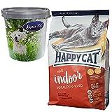 Happy Cat 10 kg Adult Indoor Voralpen Rind Katzenfutter glutenfrei + Futtertonne