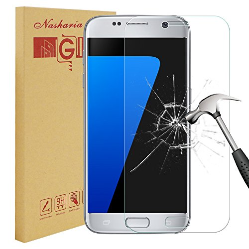 Galaxy S7 Panzerglas Schutzfolie, Nasharia 9H Härtegrad, 99% Transparenz Full HD, Anti-Fingerabdruck [Anti-Kratzer] Panzerglasfolie Displayschutzfolie für Samsung Galaxy S7