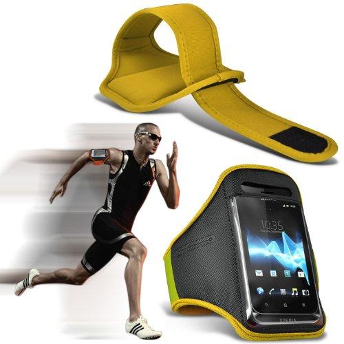 (Yellow) LG Leon 4G [H340N] Fall hochwertige Einbau Sport Armbands Laufen Rad Radfahren Jogging und Fitnessstudio Ridding Arm-Band-Kasten-Abdeckung von i-Tronixs (4g-fällen Lg)