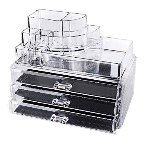 KingLiDa Make-up Aufbewahrungsbox Acryl Kosmetik Organizer Schmuck Display Box Schubladen, 3Schublade erbanlagen Lagerung und Lippenstift Liner Pinsel, Halter (Veranstalter Acryl-kosmetik-make-up)