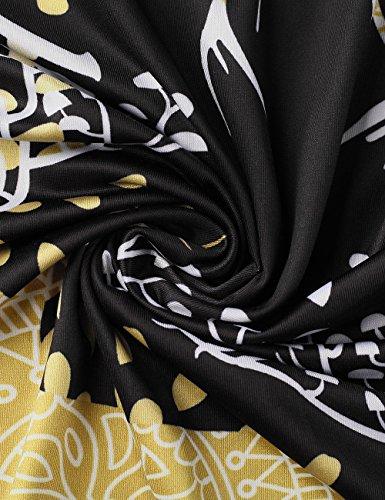 Ruiyige Damen Weihnachtskleid Langarm Xmas Print Ausgestelltes Midikleid Typ 1 Schwarz