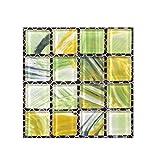 iYmitz  20pcs Auto-adhésif PVC carrelage Sol Sticker Mural Autocollant Bricolage Cuisine Salle de Bains décor à la Maison