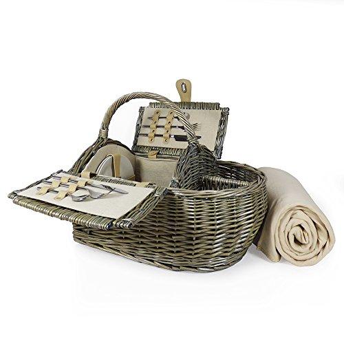 Luxus 2Personen Picknick Korb und Zubehör-Boot Style Kollektion, einschließlich Qualität cremefarbener Picknickdecke aus Fleece-Geschenk Ideen für Vatertag, Valentinstag, Muttertag, Geburtstag, Business, Hochzeit, Jahrestag und Corporate