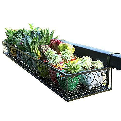 Wwjq fioriere da balcone/fioriere sospese in ferro battuto ferro battuto, nero in varie dimensioni, capacità di carico massima 60 kg (132 lbs)