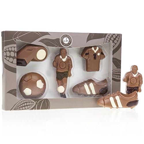 Fußballer-Set - aus Schokolade | Premium Qualität | Schoko Fußball Set | Geschenk für Fußball-Fans | Geburtstagsgeschenk | Kinder | Erwachsene | Mann | Frau | lustige Geschenkidee | Sport Fan | Geschenke für Sportler