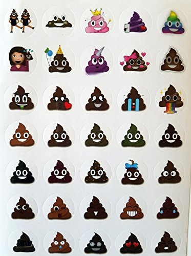 Lifetime Inc Poop Emoji Aufkleber Blatt Party Favor 24 Pack (840 Aufkleber), Poo Set. Potty Training, Journal, Gefälligkeiten, Büro, Lehrer, Scrapbooking