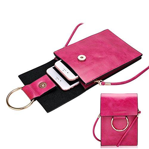 Cellulare Pouch Bag con Tracolla Rimovibile, Fukalu Multifunzionale del Telefono Cellulare Crossbody Pouch della Borsa a Mano per iphone 6 / 6S Plus, Samsung Galaxy Note 7/6 e Smartphone in 5,5 pollic Rosa caldo