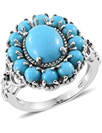 Sleeping Beauty Turquoise , Blue Diamond Floral Ring in Platinum Overlay Sterling Silver 5.75 Ct