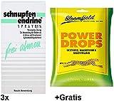3x 10ml Schnupfen Endrine Spray 0,1% +Gratis Power Drops. Ab 6 Jahren geeignet
