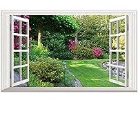 Longless Pegatinas de pared, zonas verdes, parques, falsas ventanas, extraíble, PVC