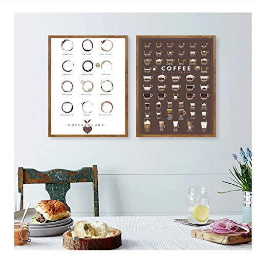 xwwnzdq 2 stücke Kaffee Arten Wandkunst Drucke Und Poster Kaffeekarte Espresso Leinwand Malerei Wandbilder Küche Kunst Cafe Decor Kein Rahmen - Espresso-esszimmer