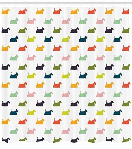 ABAKUHAUS Scottie Dog Duschvorhang, Chubby und Fluffy Hunde, mit 12 Ringe Set Wasserdicht Stielvoll Modern Farbfest und Schimmel Resistent, 175x240 cm, Mehrfarbig -