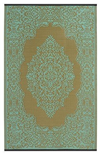 Fab Hab – Istanbul – Hellblau & Bronze – Teppich/ Matte für den Innen- und Außenbereich (120 cm x 180 cm)