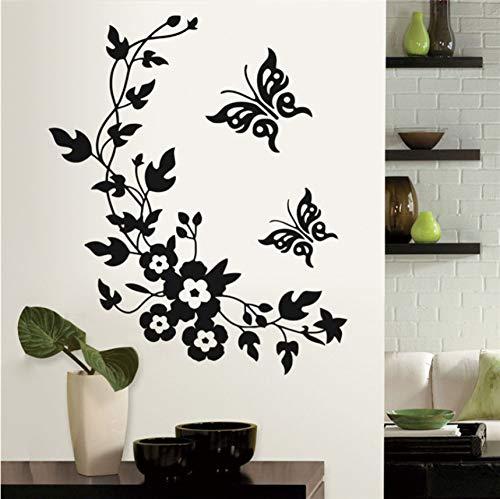 Wuyyii 28X34 Cm Abnehmbare Vinyl Wandaufkleber Wandtattoo Kunst Blumen Und Rebe Schmetterling Wand Poster Wc Wohnzimmer Aufkleber