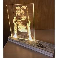 CREATIVA DIGITAL LAMPARA Personalizada con TU Foto, con Base ILUMINADA, Regalo Ideal para Bodas, CUMPLEAÑOS, Parejas (20X35)