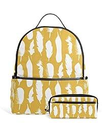Preisvergleich für FANTAZIO Rucksäcke und Bleistift Tasche Orange Wolken Schulranzen Set Polyester Tagesrucksack mit Reißverschluss...