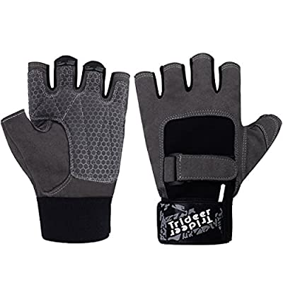 Trideer Breatheable Gym Gloves, Double Stitched & Light Microfiber & Anti-Slip Silica Gel Grip Weight Lifting Gloves for Workout, Training, Fitness, Bodybuilding and Exercise - Men & Women from Trideer
